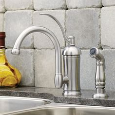 I like the pump style handle. Photo:+Courtesy+of+Pfister+Faucets+|+thisoldhouse.com+|+from+All+About+Kitchen+Faucets