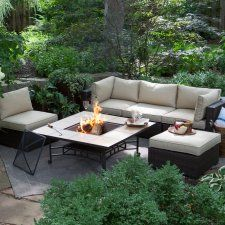 Belham Living Marcella All Weather Wicker 33 in. Fire Pit Chat Set - Create the perfect patio setting for every gathering with the easy-to-arrange Belham Living Marcella All Weather Wicker Fire Pit Chat Set - Red Ember . Fire Pit Patio Set, Fire Pit Table Set, Fire Pit Chat Set, Fire Pit Sets, Fire Pit Backyard, Backyard Retreat, Fire Pits, Patio Furniture For Sale, Outdoor Furniture Sets