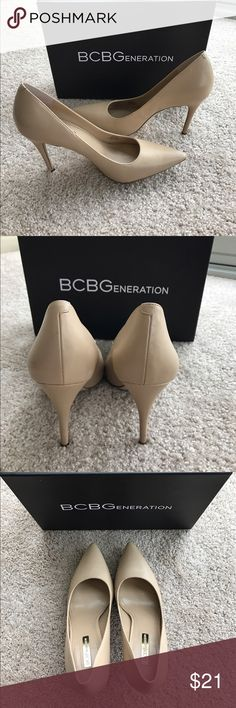 Nude pumps from BCBGGenerations Only worn twice. Minor scratches on both heels-see pictures for details. Size 8W BCBGeneration Shoes Heels