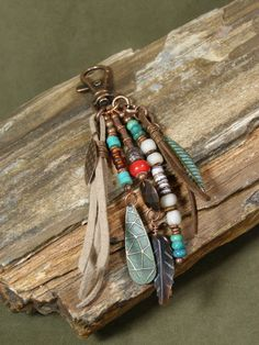 Native Tassel Tribal Charms Purse Charm bar charm by StoneWearDesigns Leather Jewelry, Beaded Jewelry, Handmade Jewelry, Tribal Bags, Bijoux Diy, Jewelry Crafts, Jewelery, Jewelry Accessories, Jewelry Making