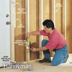 Do-it-yourself guide with professional techniques for a safe wiring job. Home Electrical Wiring, Electrical Code, Electrical Layout, Electrical Outlets, Ac Wiring, Residential Electrical, Shed Plans, Basement Designs, Basement Renovations