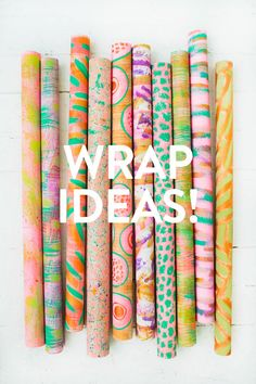 Ideas using this bright paper.  There's also a picture step-by-step of how to wrap.  |  Design Love Fest