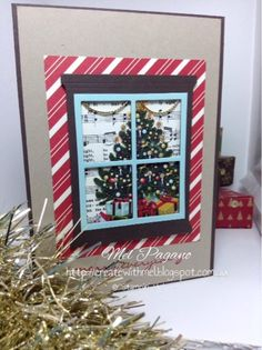 CreatewithMel. Holiday catalogue 2015 blog hop. Home for Christmas DSP. Hearth and Home Framelits. Stampin Up. Christmas Card.