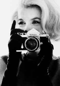 Beautiful Marilyn Monroe with a Nikon camera