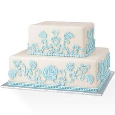 blue and white fondant cake with roses