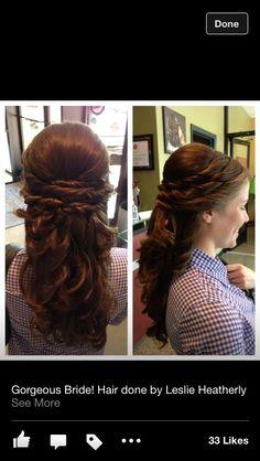 Bridesmaid hair half up half down