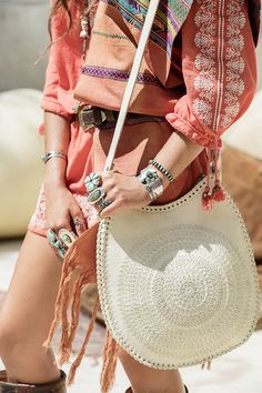 Mandala Saddle Bag - Cream