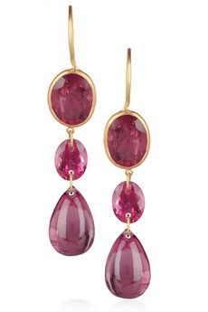 Marie-Hélène de Taillac's 36.66-carat pink tourmaline-embellished drop earrings are the most elegant way to infuse evening attire with color. Keep this luxe 20-karat gold pair in focus with swept-up hair and minimal makeup. For pierced ears.
