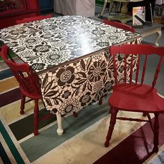 A unique and utterly adorable little solid maple drop leaf dining table and four chairs! I restored the top of the table with General Finishes Black Gel Stain, and once dry, I stenciled the lace pattern in Annie Sloan's Old White Chalk Paint®, which is the same color used on the legs and backsides of the drop leafs. The chairs are in Emperors Silk, with Clear and Black Soft Chalk Paint® Wax! There a gorgeous china cabinet painted to match!