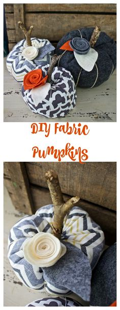 Fabric Pumpkins - DIY Fabric Pumpkins. Fall Decor. 2 Bees in a Pod