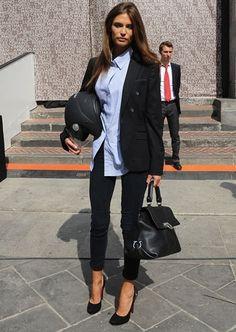Black blazer, blue button down shirt, dark blue jeans, black heels + black satchel. Visit www.ofvogueandrestraint.wordpress.com for tips on how to revamp and upgrade your wardrobe.