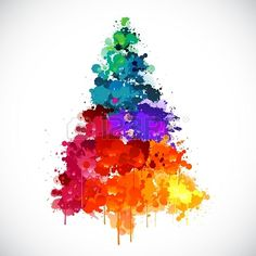 Discover thousands of images about Colorful abstract paint splash Christmas tree Stock Photo - 22800645 Painted Christmas Cards, Watercolor Christmas Cards, Christmas Tree Painting, Christmas Drawing, Watercolor Cards, Christmas Art, Christmas Decorations, Christmas Ornaments, Christmas Cookies
