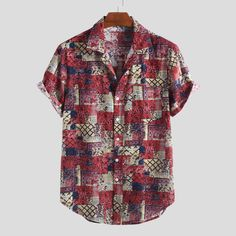 TWO-SIDED Mens Ethnic Style Paisley Printing Loose Short Sleeve Turndown Collar Casual Shirts is designer and cheap on Newchic. Mens Printed Shirts, Mens Short Sleeve Shirts, Loose Shirts, Men Shirt, African Shirts, African Tops, African Style, Camisa Floral, Outfits Hombre