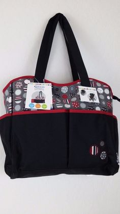 NWT GRACO DOTASTIC Black Gray Carry All Diaper Bag W/Changing Pad 7 Pockets  #Graco #Ebay #Graco #DiaperBag