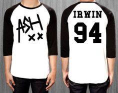 ASH XX Shirt Ashton Irwin 94 5SOS 5 seconds of summer shirt- 3/4 Long sleeve baseball tee