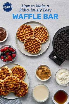 Whether you're hosting a crowd for breakfast, or want to put a fun spin on your party buffet, this waffle bar comes together incredibly easily! Waffle Bar, Waffle Iron, Like Chocolate, Chocolate Hazelnut, Cinnamon Roll Waffles, Savoury Biscuits, Pillsbury Recipes, Hazelnut Spread, Party Buffet