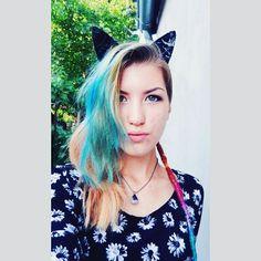 #kittenplay #catears #bluehair #dread #restingbitchface