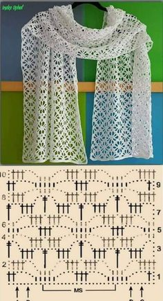 Crochet scarf pattern i couldn t find the pattern for thi – artofitPretty lace shawl and pattern - Salvabrani Crochet Flower Scarf, Crochet Shawls And Wraps, Crochet Scarves, Crochet Clothes, Lace Shawls, Filet Crochet, Knit Crochet, Crochet Scarf Diagram, Crocheted Lace