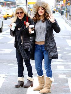 """Smash"" stars Megan Hilty, in fab cat-eyes, and Katharine McPhee bear the cold temperatures in NYC with smiles on their faces!"