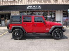 redddd!! Jeep Wrangler Unlimited Sport with Fuel Hostage Wheels