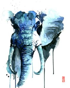 Elephant Watercolor Fine Art Giclee Print / by JadeWuStudio