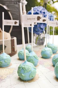 Globe Cake Pops for an Around the World Baby Shower @Hostess with the Mostess