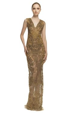 gold lace gown