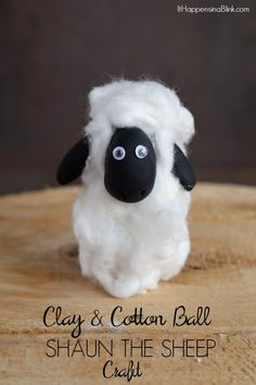 Clay and Cotton Ball Shaun the Sheep Craft     AD #ShauntheSheep    Use clay and cotton balls to make a Shaun the sheep craft for a party or movie night