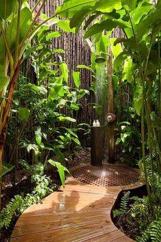 outdoor dusche bereich gestalten ideen palmen sichtschutz