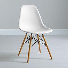 HNNHOME Chaise Inspirée Eames Eiffel Dîner Salon Mobilier Moderne - Blanc