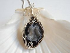 Druzy Jewelry, Wire Wrapped Pendant, Black and White Agate, Handmade Necklace,