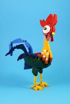 Hei Hei the Rooster - Lego Ideen Lego Design, Lego Toys, Lego Duplo, Lego Disney, Disney Cars, Legos, Lego Poster, Deco Cool, Animation Disney