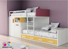 Dormitorio Infantil con 2 camas tipo Tren Armario