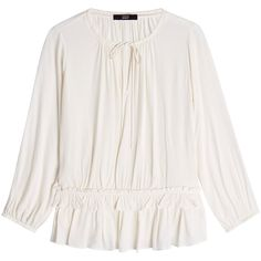 Steffen Schraut Blouse featuring polyvore, women's fashion, clothing, tops, blouses, white, white frilly top, white tops, white ruffle top, white blouses and frilly tops