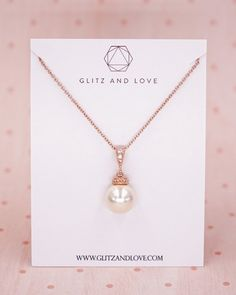 Rose Gold Pearl Necklace, Rose Peach Crystal Necklace, Swarovski, Silver, Gold, Rose Gold, Simple Bridesmaid Necklace, Gifts for her, Bridal wedding jewelry gifts, www.glitzandlove.com