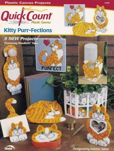 Kitty-Purr-fections-Uniek-Home-Decor-Plastic-Canvas-Pattern-Booklet-53002-HTF