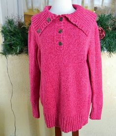 Lands End Variegated Collared Sweater 1X16/18W Fuchsia Pink Winter Comfy Party #LandsEnd #Collared12Buttoned