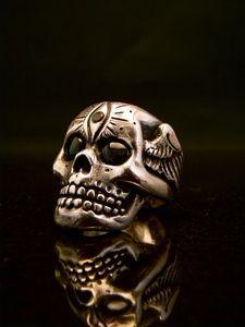 Sterling Set with 2 Onyx cabochon stones and 1 Blood Red Garnet. Memento Mori Ring, Custom Jewelry, Handmade Jewelry, The Doors Of Perception, Momento Mori, 3rd Eye, Vanitas, Skull And Bones, Skulls