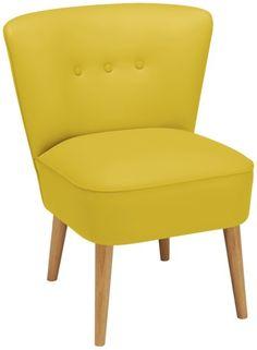 Produkt-Detailansicht von GO IN Chill Out Sessel 0600 - Polstersessel: Schaumstoff, bezogen mit Kunstleder, gelb - Füße: Eiche, Eiche