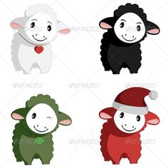 Happy Sheep Mascots  #GraphicRiver          Four really cute sheep mascots in one vector.  Nice illustrations for presentations, commercials, advertisements, avatars, personal items' decoration (T-shirts, mugs, pillows, etc.) or web design.  100% vector art, no bitmaps – clearly named and organised layers.  No gradient shadings.  Different color swatches set, easy to re-color.  Package contains AI vector files from CS to CS6 / vector EPS (Illustrator 10 compatible) / PSD / PDF / PNG / and a…