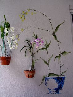 Look closely ... what do you see?   What's Real, What's Not? Trompe l'oeil !  combine art and real with hanging flower pots using hangapot hangers!