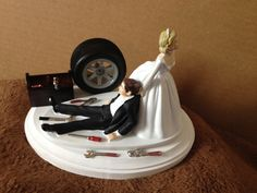 Cake Topper Wedding Day Bride Groom Funny  Auto by Embroideryworld