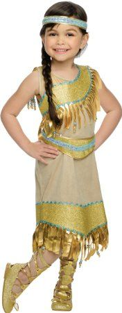 Isn't she the cutest? I LOVE the look of pride on her face, posing in this Indian Princess Costume! See it and more Generic Princess Dresses by clicking through to www.kidslovedressup.com