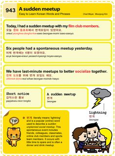 Easy to Learn Korean 943 - Popular Expressions - Lightning Meetup/Sudden Meetup. Chad Meyer and Moon-Jung Kim An Illustrated Guide to Korean EasytoLearnKorean.com