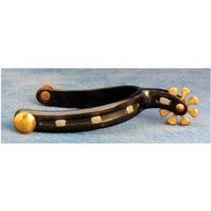 "These spurs ride right on the boot and communicate with horse well. A black steel horseshoe spur with 1 1/4"" band with three brass nailheads, fixed brass buttons and 8 point brass rowels."