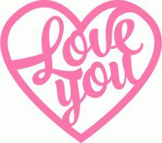 Silhouette Online Store - View Design #61440: love you brush script title heart