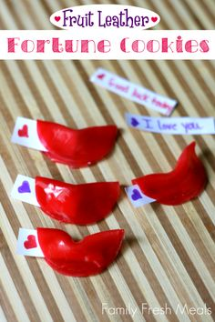 Fun Food for Kids Fruit Roll-Up Fortune Cookies - would be great for Chinese New Year!  We could write our own fortunes!