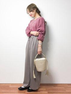 りっぴーさんの「シャギーパール釦カーデ(natural couture)」を使ったコーディネート