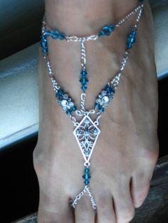 Slave Anklet Bare Foot Sandal Teal Indicolite and Clear Swarovski Crystals, Belly Dance, Burlesque, Renaissance. $35.00, via Etsy.