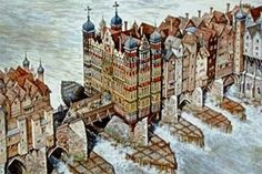 London Bridge in the late 16th Century showing Nonsuch House and the broad starlings which caused treacherous rapids between the bridge's 20 culverts